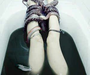 bath, legs, and scary image