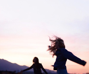 friends, sunset, and sky image