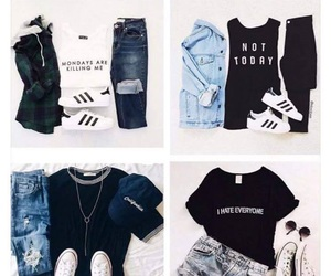 outfit, adidas, and converse image