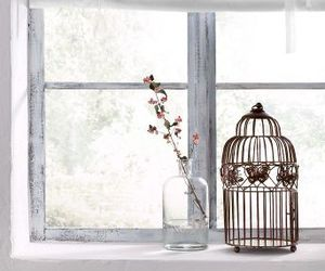 window, flowers, and bird cage image