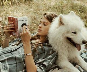 book, dog, and girl image