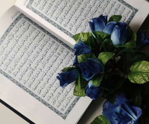 book, flowers, and quran image