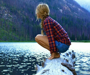 girl, mountains, and water image
