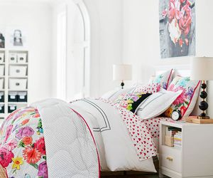 bedroom, floral, and girl image