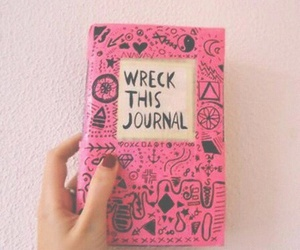 wreck this journal, pink, and book image