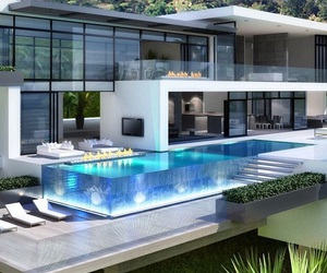 house, pool, and home image