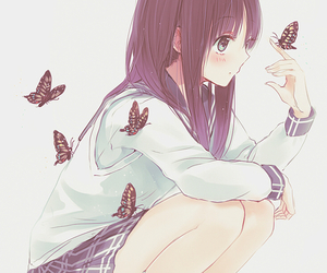 anime, butterfly, and anime girl image