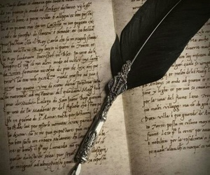book, feather, and vintage image