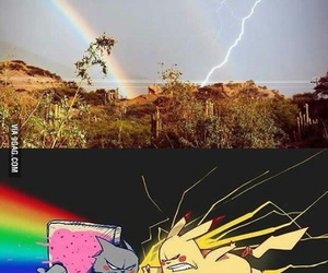 pikachu, rainbow, and nyan cat image