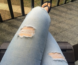 flip flops, jeans, and outfits image
