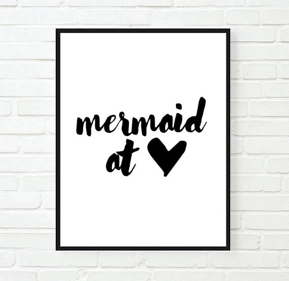 Mermaid At Heart Funny Inspirational Tumblr Quote Typographic Print Girly Fashion Room Decor Framed Quotes
