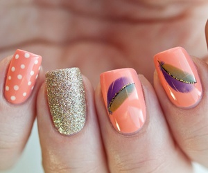 nails, orange, and feather image