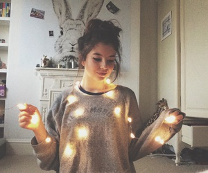 fairy lights, tumblr, and vogue image