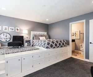 bedroom, gray scale, and interior image