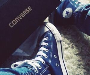 converse blue jeans image