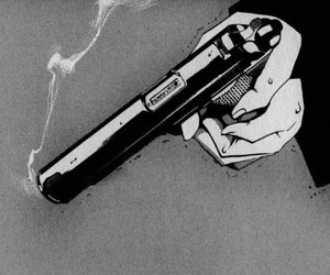 gun and black and white image