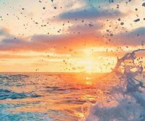 sunset, water, and sea image