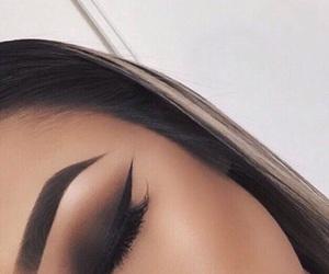 cat eye, eyebrows, and fashion image