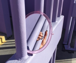 mirror, purple, and hand image
