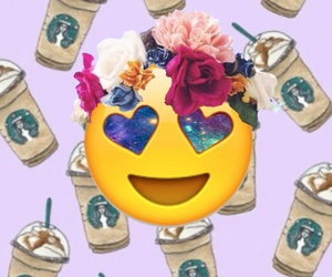 starbucks, crown flower, and emoji image