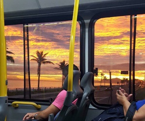 sunset, bus, and brazil image