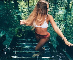 summer, blonde, and water image