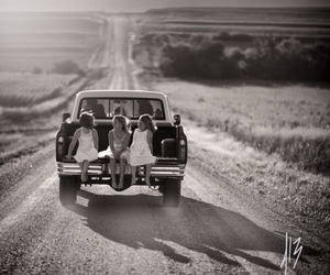 friends, black&white, and car image