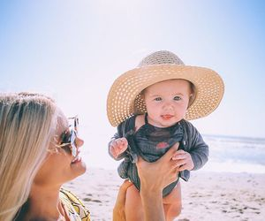baby, beach, and family image