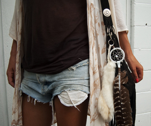 fashion, shorts, and feather image