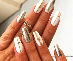 gold, white, and nails image