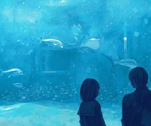 anime, fish, and aquarium image