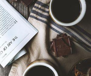 books, chocolate, and coffee image