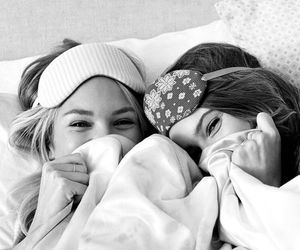 girls, monochrome, and sleepover image