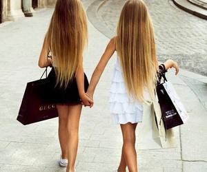 girl, hair, and shopping image