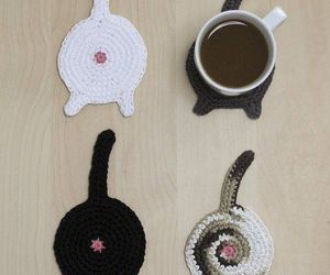 cat, coasters, and coffee image