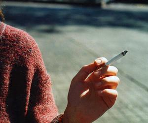 cigarette, girl, and smoke image