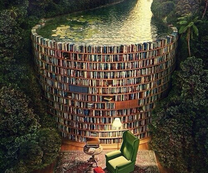 book, library, and water image