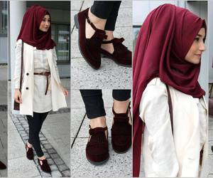 hijab, outfit, and red image