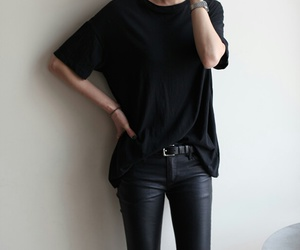 black, style, and leather image