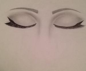 art, closed eyes, and drawings image