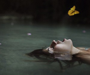 butterfly, lake, and woman image