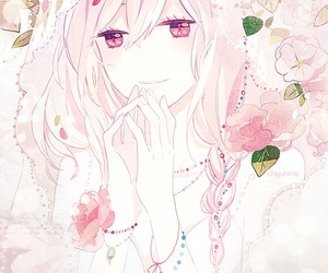 anime, flowers, and pink image