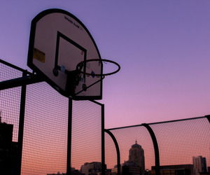 Basketball, sunset, and sky image