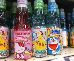 drink, hello kitty, and pikachu image