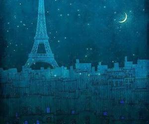 paris, night, and moon image