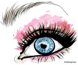 eye, blue, and pink image