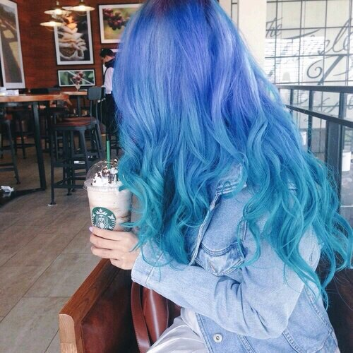 hair, blue, and starbucks image