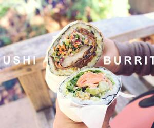 burrito, food, and sushi image
