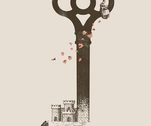 key, illustration, and background image