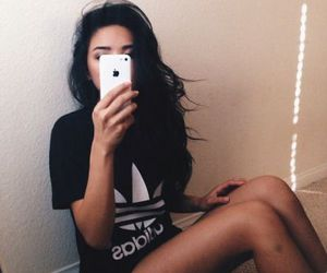 adidas, black hair, and moda image